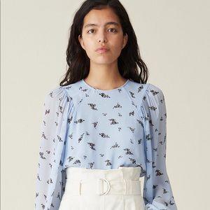 Ganni blue floral blouse